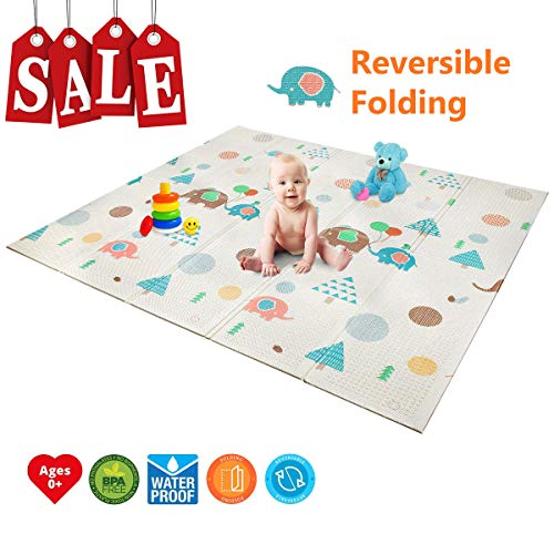 Folding Play Mat | BPA Free Non-Toxic Foam Baby Care Baby Playmat (6.6FT x 5FT) 0.4IN Thick Extra Large Reversible Crawling Mat Portable Toddlers Kids Waterproof Non-Slip Outdoor (Love of Elephant) (Baby Care)