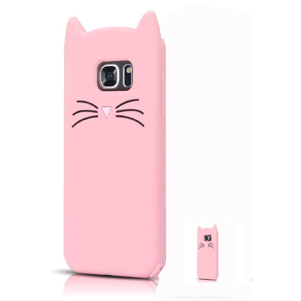 HopMore Coque Samsung Galaxy S7 Silicone Souple Chat 3D Design Motif Drôle Mignonne Etui Samsung S7 Étui Antichoc Ultra Mince Fine Gel Bumper Slim Case Etui Housse Protection pour Fille Femme - Noir