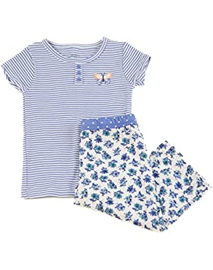 Baby Girls Henley Shirt Stripes and Flowers, Blue, 18 Months