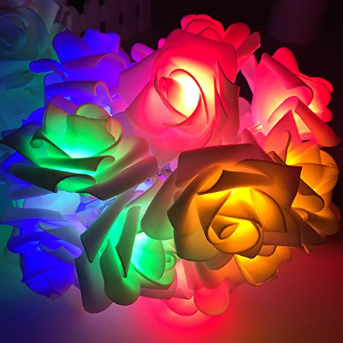 Rose Flower Fairy String Lights 20 LED Battery Operated Night Light Christmas Party Decor Colorful
