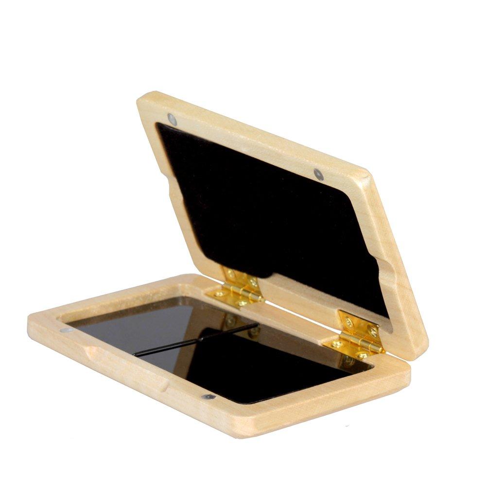 ammoon Solid Wood Reed Case Wooden Holder Box for Tenor/ Alto/ Soprano Saxophone Clarinet Reeds, 2pcs Capacity 1