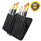 Paint Brush Set & FREE Zipper Storage Case/Display Stand ***Lifetime Quality Guarantee*** Acrylic, Oil & Watercolour Paintbrush Selection 12-Piece. Wood Handle, Synthetic Brushes. Art Supplies for Kids, Beginner, Student and Professional Artist by Chameleon Art Supplies.