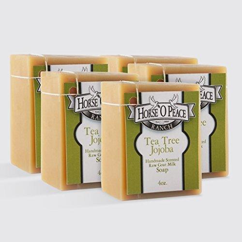 Handmade Herbal 100% Raw Goat Milk Tea Tree Jojoba Soap (5 PACK)