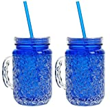 Mason Jar Frosty Freezer Mugs, Double Wall, Gel with Lid and Straw, 20oz (Blue)