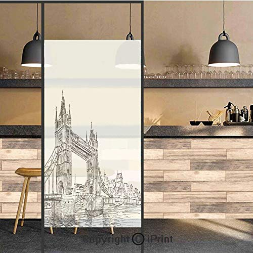 3D Decorative Privacy Window Films,Old Fashion London Tower Bridge Sketch Architecture British UK Scenery Art Print,No-Glue Self Static Cling Glass Film for Home Bedroom Bathroom Kitchen Office 17.5X