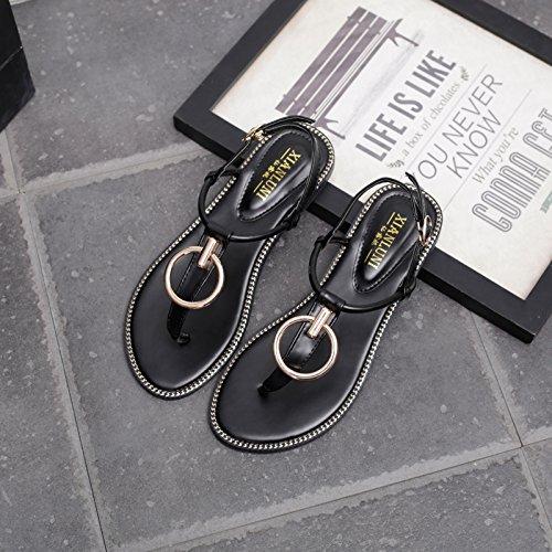 Angrousobiu Frauen Sommer Flache Sandalen Frauen Angrousobiu Mit Klammern Und Mit Einfachen Römischen Schuhe Mit Einem Base Schlitz Schelle Fuß Sandalen Weiblichen Sommer a5b57c