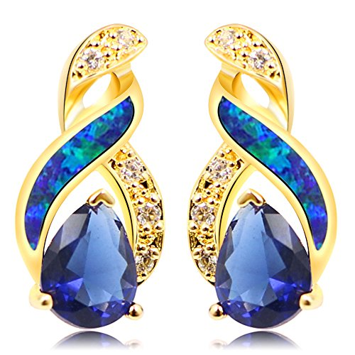 Sinlifu Silver Plated Earrings Fire Blue White Opal With Sapphire Tanzanite Topaz Design (Golden Blue Opal) Created White Sapphire Stones