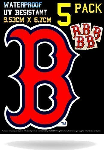 5 Pack Boston Red Sox Vinyl Decal Stickers | Waterproof & UV Resistant Ideal for Cars | Decorate Baseball Gear Team Helmet Cornhole Hard Hat Lunchbox Phone Case Laptop Wall Mug Cup Gift Box