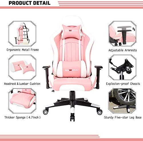 Bowthy Massage Gaming Chair Computer Video Game Chair Large Size Heavy Duty Big and Tall Ergonomic Gamer Chair for Adults Racing Style Headrest and Lumbar Support (Pink) 51rwlO kMjL