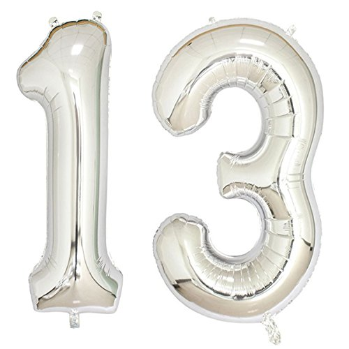 40inch Silver Foil 13 Helium Jumbo Digital Number Balloons, 13th Birthday Decoration for Girls or Boys,13 Birthday Party Supplies -