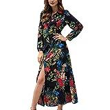 KIKOY Women's Fashion Long Sleeve Bohemian Floral Print Casual Long Tunic Dress