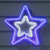 Lights4fun Blue & White Neon Star Christmas Silhouette Outdoor Use