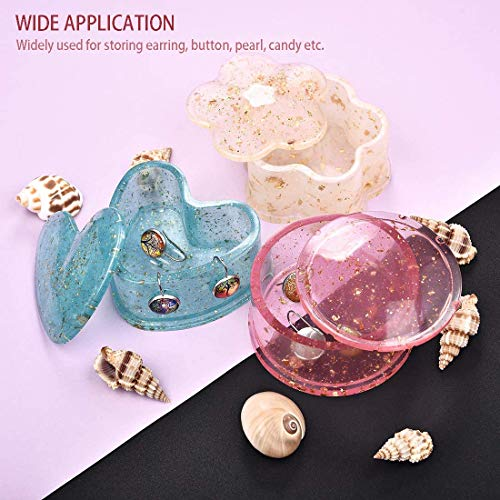 4 Pcs Box Resin Molds with lids, Silicone Jewelry Epoxy Mold Sets with Heart Shape, Hexagon, Square and Flower for Storing Earrings, Rings, Coins, Keys or Making Flower Pot, Ashtray, Pen&Candle Holder