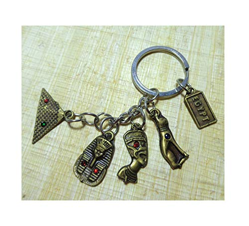 King Tut Cartouche - King TUT Nefertiti Bastet Bast Pyramids Cartouche Egyptian Handmade Collectable Antique Keychain Key Chain Ring Pharaoh Egypt Pharaohs Hieroglyphics Souvenir 208