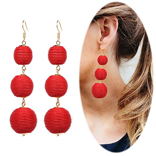 Red Beaded Earring - 4