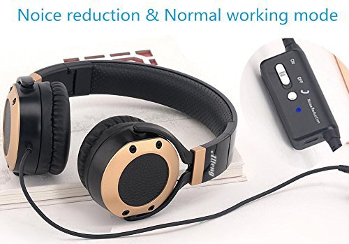 Active Noise Cancelling Headphones with Microphone and Airplane Adapter, Alteng J19 Folding and Lightweight Travel Headsets, Hi-Fi Deep Bass Wired Headphones with Carrying Case - Black by ALTENG (Image #2)