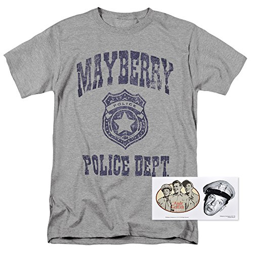 T-shirt Shop Andys - Popfunk The Andy Griffith Show Mayberry Police Department T Shirt (X-Large) Gray