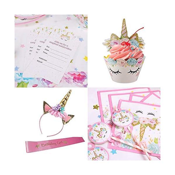 GONGYIHONG Unicorn Birthday Party Supplies Set, Serves 16, Colorful 7