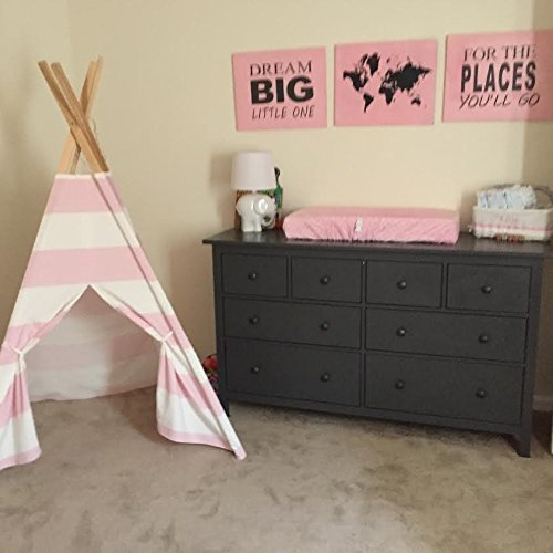Kids teepee play tent Pink and White stripes