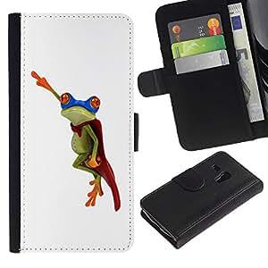 KingStore / Leather Etui en cuir / Samsung Galaxy S3 MINI 8190 / Flying Frog héroe blanco minimalista