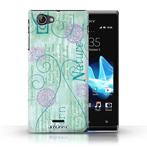 Etui / Coque pour Sony Xperia J (ST26i) / Turquoise / Violet conception / Collection de Motif Nature