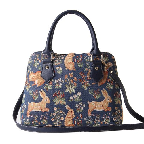 Rabbit Bag - Signare Tapestry Women Top Handle Handbag with Detachable Strap with Millie Fleur Rabbit and Squirrel Blue (CONV-FORE)