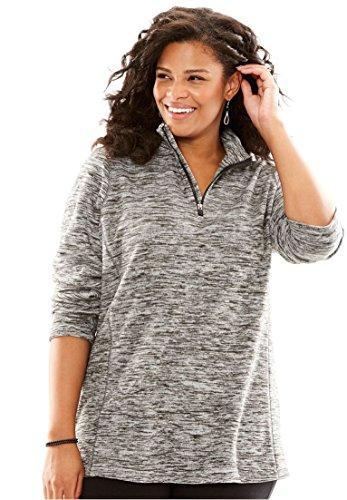 Womens Plus Size Half Zip Micro Fleece Sweatshirt Black Marled 1X