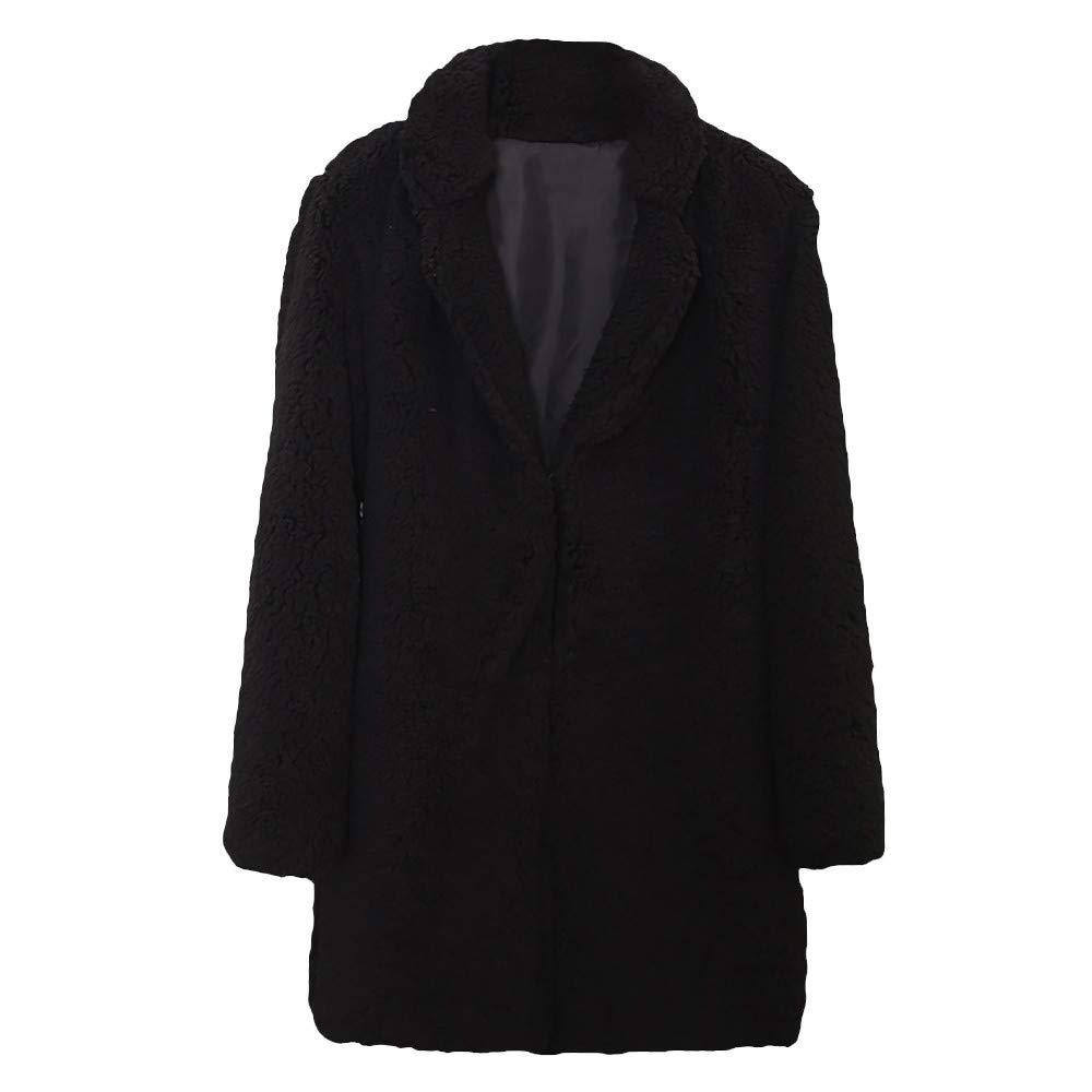 GOVOW Fur Coats for Women Winter Casual Solid Color Notch Collar Autumn Faux Outwear Blouse(US:12/CN:XL,Black)