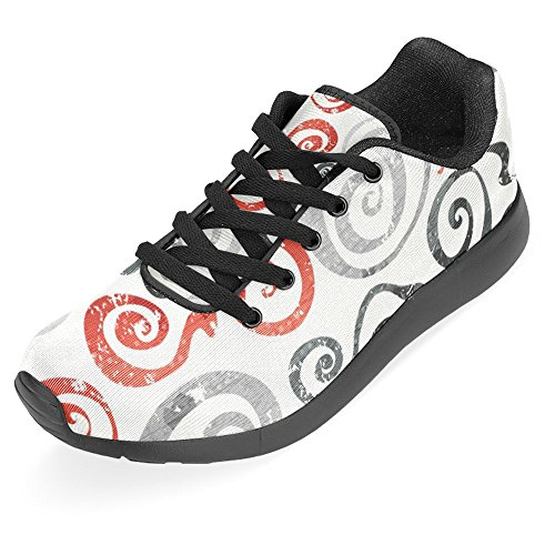 Interestprint Kvinner Jogging Kjører Sneaker Lettvekts Gå Gang Uformell Komfort Joggesko Røde Swirls Med Grunge Effekt Multi 1