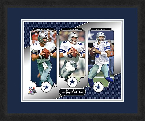 "Tony Romo Wall (NFL Dallas Cowboys Roger Staubach, Troy Aikman and Tony Romo, Beautifully Framed and Double Matted, 18"" x 22"" Sports Photograph)"