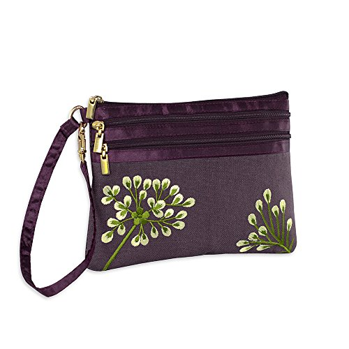 3 Zip Wristlet Pouch - Embroidered Dandelion (Plum - Bronze) (Pouch Embroidered Zip)