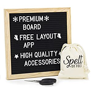 Felt Letter Board 10x10 - Wooden Message Board Set with 360 White Changeable Letters, Numbers, and Emojis - Free Layout App - Sharp Scissors - Drawstring Storage Bag - Mounting Hanger