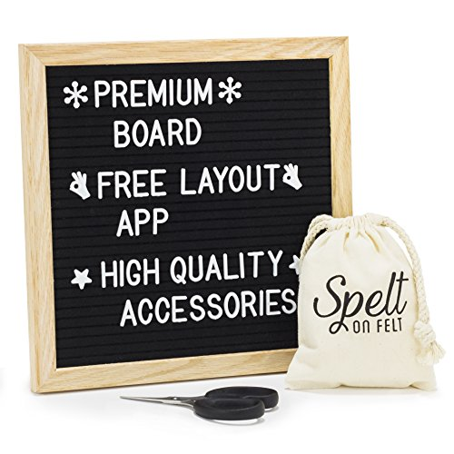 Felt Letter Board 10x10 - Wooden Message Board Set with 360 White Changeable Letters, Numbers, and Emojis - Free Layout App - Sharp Scissors - Drawstring Storage Bag - Mounting Hanger by Spelt On Felt