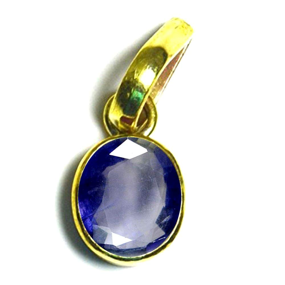 55Carat Brand Genuine Iolite Panchdhatu Pendant 3 Carat Stone Gold Plated Birthstone Locket for Astrology