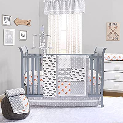 Grey and Orange Woodland Friends Crib Bedding Sets by The Peanut Shell