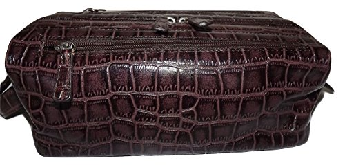 Italia Leather Croc-embossed Framed Top Zip Toiletry Travel Shave Kit ()