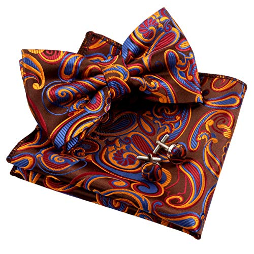 Alizeal Mens Floral Paisley Pre-tied Bow Tie, Hanky and Cufflinks Set, Navy+Maroon+Orange