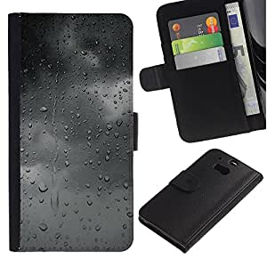 For HTC One M8,S-type® Gray Grey Mood Clouds Window Fall - Dibujo PU billetera de cuero Funda Case Caso de la piel de la bolsa protectora
