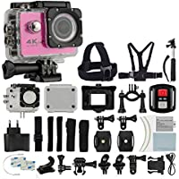 4K HD DV 16MP Sports Action Camera (Pink) - Wi-Fi + Wrist RF + 170° Wide Angle Lens + Waterproof Case & Backdoor + Bike Mount + Chest & Head Strap + Monopod/Selfie + Deluxe Valued Accessory Bundle