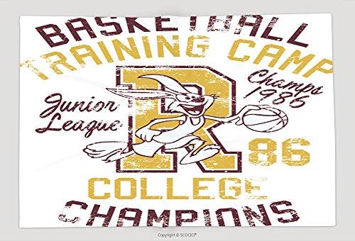 Supersoft Fleece Throw Blanket Rabbit Basketball Training Camp Print For Boy Sportswear In Custom Colors Grunge Effect In 223157623