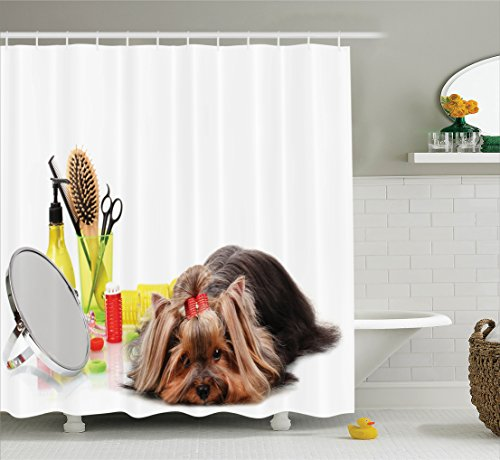 Ambesonne Dog Lover Decor Collection, Yorkshire Terrier with Grooming Items Haircut Scissors Mirror Comb Camera, Polyester Fabric Bathroom Shower Curtain Set with Hooks, Brown Yellow White (No Cut Scissors)