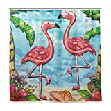 MiMi-Baby Pink Flamingo Home DecorShower Curtain Resistant Fabric Bathroom Curtain...