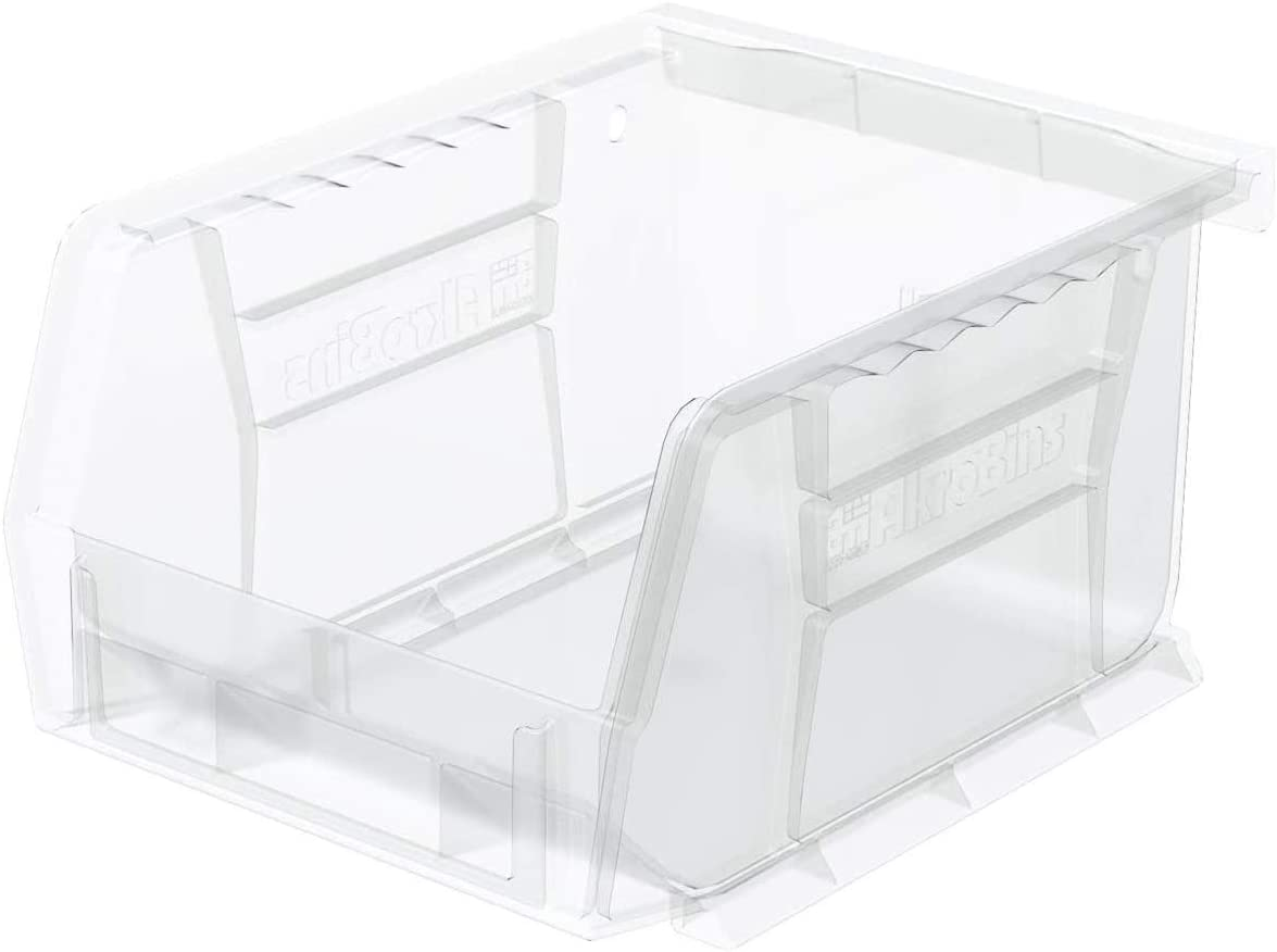 Akro-Mils 30210 AkroBins Plastic Storage Bin Hanging Stacking Containers, (5-Inch x 4-Inch x 3-Inch), Clear, (24-Pack)