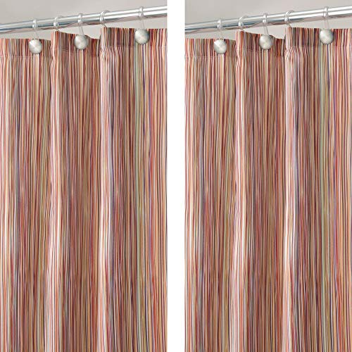 mDesign - 2 Pack - Modern Sketched Line Print - Easy Care Fabric Shower Curtain with Reinforced Buttonholes, for Bathroom Showers, Stalls and Bathtubs, Machine Washable - 72