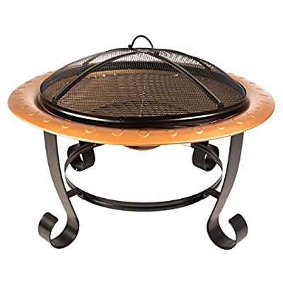 "Pleasant Hearth OFW327RC Brentwood Fire Pit with Cooking Grid - 30"" round fire bowl coated with high temperature copper paint Includes cooking grid for BBQ's Wood grate in fire bowl provides better oxygen circulation - patio, fire-pits-outdoor-fireplaces, outdoor-decor - 51rwp7N852L. SS400  -"