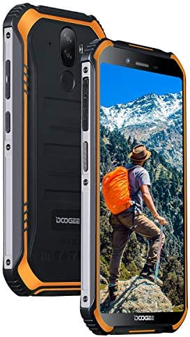 Rugged Outdoor Smartphone Unlocked, DOOGEE S40 Lite Android 9.0, Dual SIM Free 2G/3G Tough Mobile Phone 2+16GB, 5.5 Inch IP68 Waterproof 4650mAh, 8+5MP Dual Rear Cameras/Face ID/GPS Cellphone, Orange