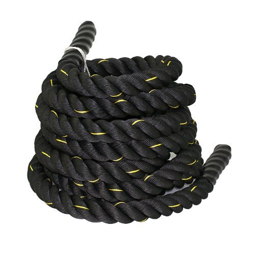 "ZENY Black 1.5""/ 2"" Width Poly Dacron 30/40/50ft Length Battle Rope Workout Training Undulation Rope Fitness Rope Exercise (2"" W x 50'L)"