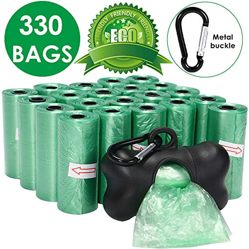 SlowTon Dog Waste Poop Bags, 22 Rolls Strong Unscented Biodegradable Environment Puppy Doggies Pick Up Disposable Bags with Free Dispenser and Leash Clip ()