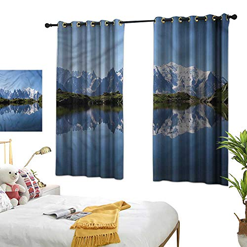 Simple Curtain Lake Girl Room Blackout Curtain Mont Blanc Alps France 72