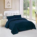Unique Home All Season Box Stitched Goose Down Alternative Comforter-Hypoallergenic- Plush Fiberfill Duvet Insert (Navy, Twin)